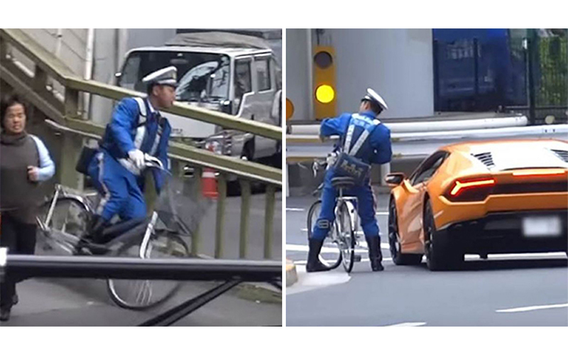 真人版兩津4ni?藍寶堅尼違規左轉,日本警察騎腳踏車「加速爆衝」猛追上開罰單!(影)