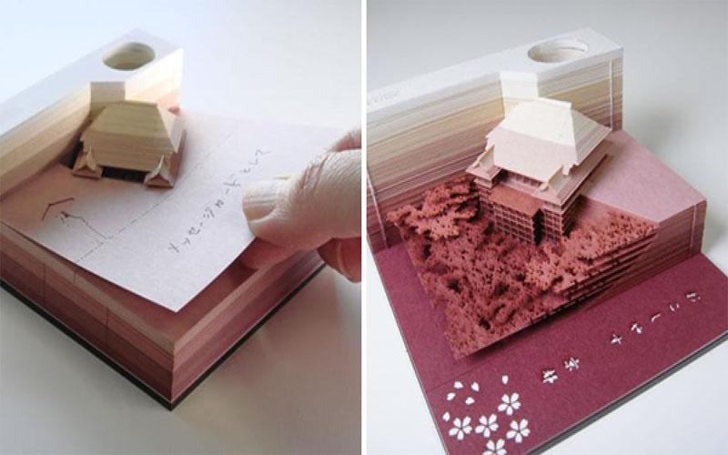 伴手禮新選擇!日本「紙雕便條紙」每撕一張都是驚喜,最後現出「超凡精緻模型」美哭!
