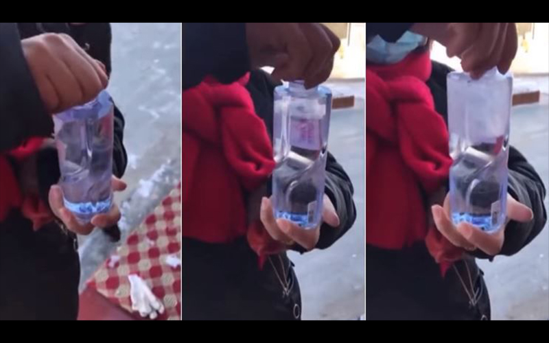 這才是真正冬天!零下20度想開礦泉水喝,幾秒內瞬間「變冰柱」 大家都驚呆了!(影)