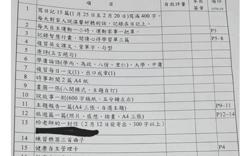 小學生寒假作業多如山 網友PO文附圖諷「搞死家長」