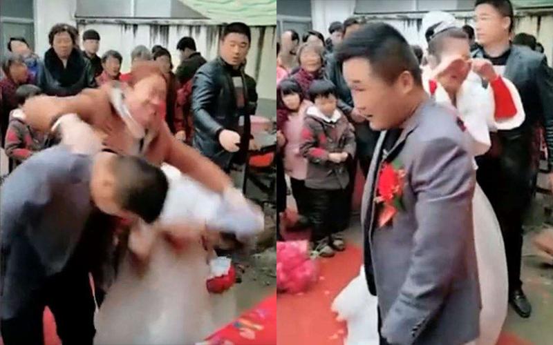 太超過!中國婚禮又見鬧場,大媽從後方「強壓新人低頭鞠躬」新娘爆氣摔捧花痛哭!(影)