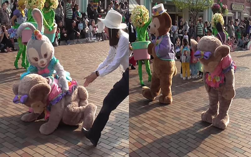 迪士尼玩偶「雪莉玫」在遊行中跳舞「突然定格」,硬撐「做出舞蹈後的鞠躬動作」秒昏倒!