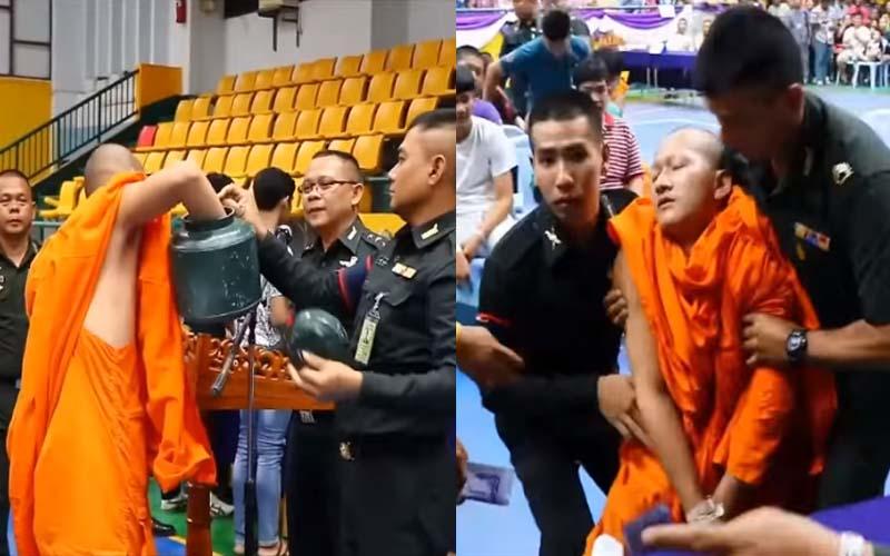 泰國僧侶「抽中紅籤」要服役當場暈倒,軍人無視抓著他的手蓋章「完成作業」!網:修行還不夠啊~