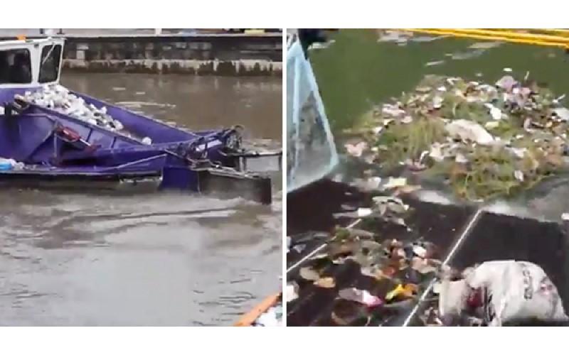 好療癒~「水上清道夫」效率一級棒 漂浮垃圾快速剷除