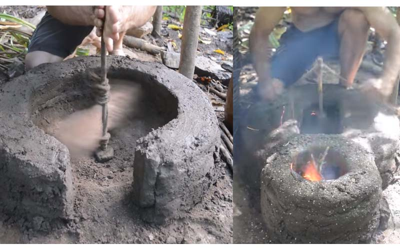 他在野外製作一組「窯烤爐」讓網友嘆為觀止,根本「現代原始人啊!」
