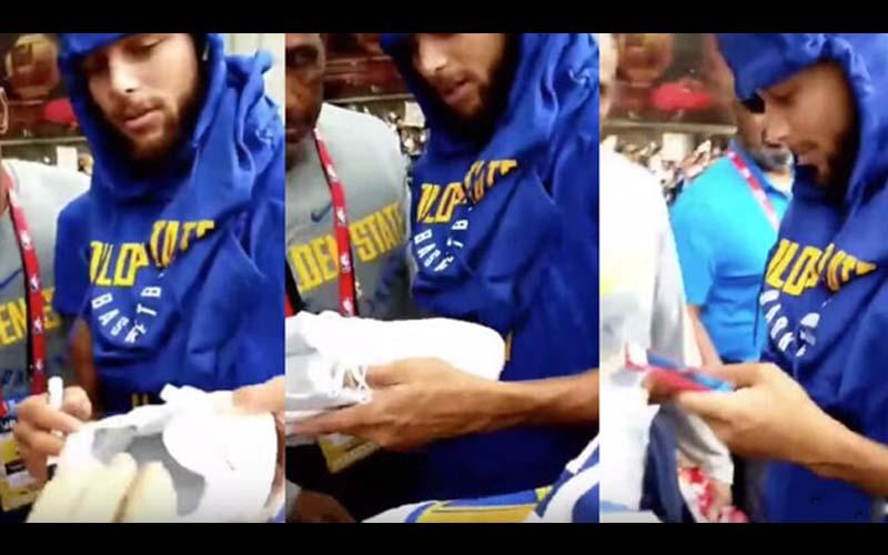 球迷拿「盜版球鞋」給柯瑞簽名,被他一眼察覺甚至還驚訝到拿出手機拍照!