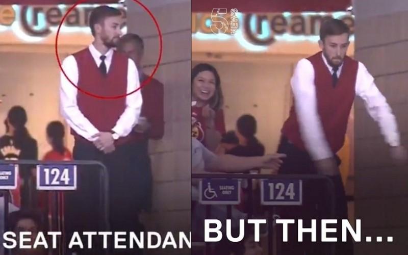 高手在民間!NBA中場「服務生」被cue跳舞? 超神「絕技」嗨翻全場!(影)