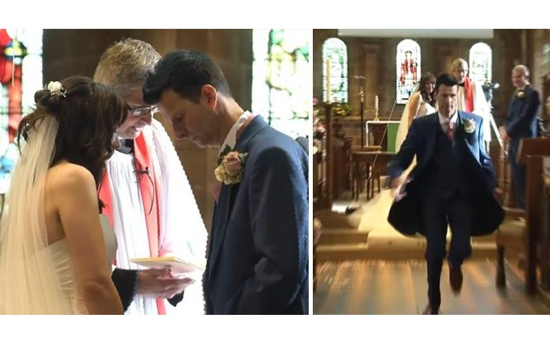 婚禮途中新郎發現「婚戒放在家裡」!接著他轉身「衝出教堂後」全場笑噴XD