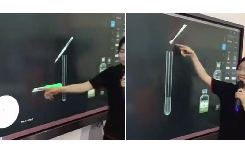 化學老師用「觸控電子黑板」示範實驗!手一揮「成果瞬間浮現」好科幻阿!