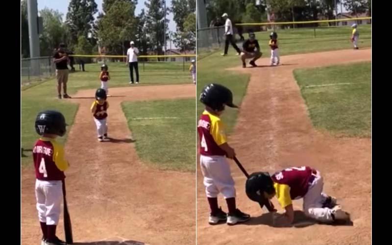 天生的搞笑選手!男孩用龜速跑壘,慢動作滑壘,不顧爸爸笑歪全場人!