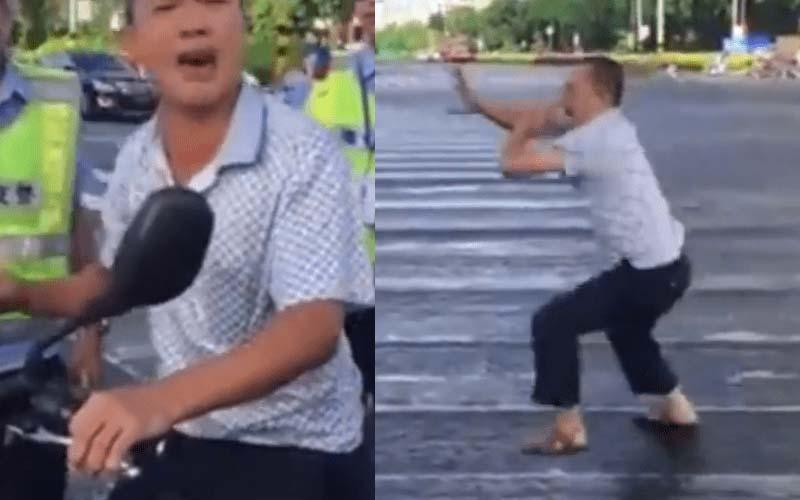 他違規遇到警察竟當場熱舞,靠著驚人的「絕招」逃跑了!影片也被網友神改編!