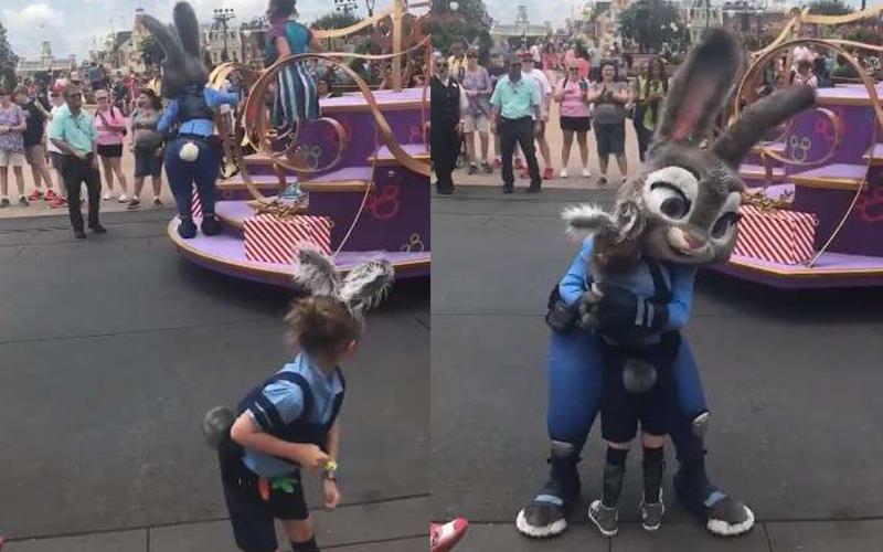 小女孩去迪士尼樂園扮成《動物方城市》茱蒂兔,沒想到下秒「本尊親自邀請上花車」永生難忘