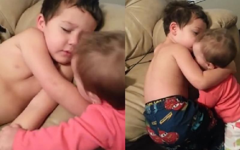 8個月大妹妹「吵醒3歲哥哥睡午覺」,哥哥的反應讓網友全融化了...