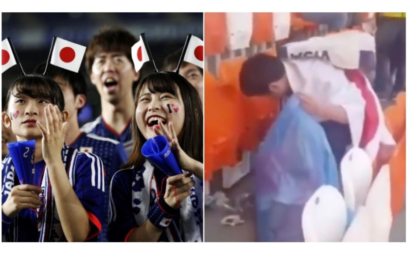 全世界最有水準!日本球迷贏球後沒急著慶祝....全留在球場撿垃圾!影片曝光獲全球讚:「世界上最棒的客人!」