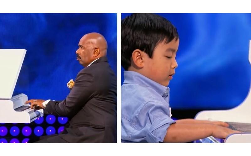 主持人問4歲男童:你會彈大黃蜂嗎? 男童現場和他「尬琴」超水準表演讓全場都沸騰了!