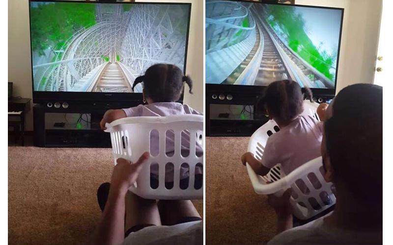 女兒想玩雲霄飛車,超強奶爸自製「洗衣籃手動版」,超神體驗嚇的女孩尖叫不停!