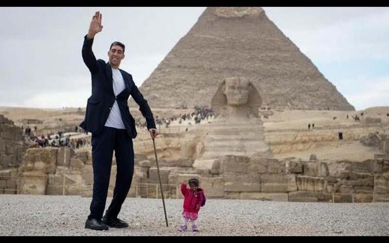 世界上最高與最矮的人在埃及相見歡,身高相差190公分的兩人合照,畫面令人驚嘆啊!
