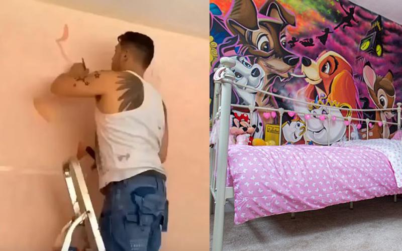 女兒不肯回自己房間睡覺!超強爸爸手繪牆壁「滿滿迪士尼角色」晚上一關燈更精彩!