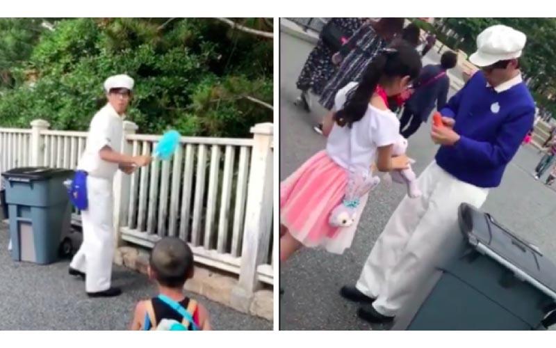 全是神人!迪士尼清潔工「打掃自帶音效」與遊客搞笑互動根本街頭藝人!