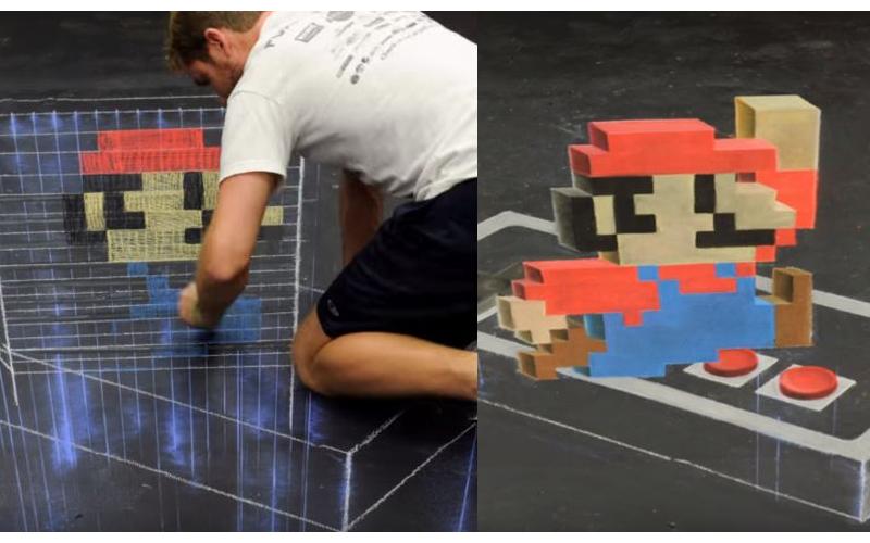 街頭藝術家用粉筆重現超級瑪利歐 層層堆疊「超逼真3D視角」畫作瞬間活過來了