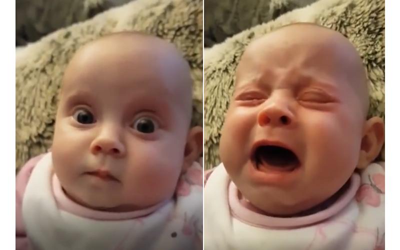 寶寶聽到爸爸歌聲緊皺眉頭嚎啕大哭,換媽媽上陣「神情火速轉換」逗得哭笑不得!