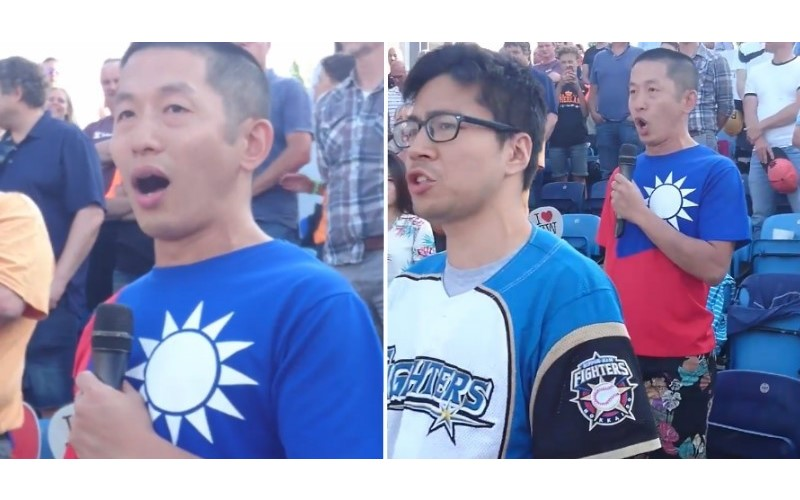 國外球場身穿「台灣國旗裝」!男子起立高唱「國歌」 高亢美聲讓全場感動鼓掌