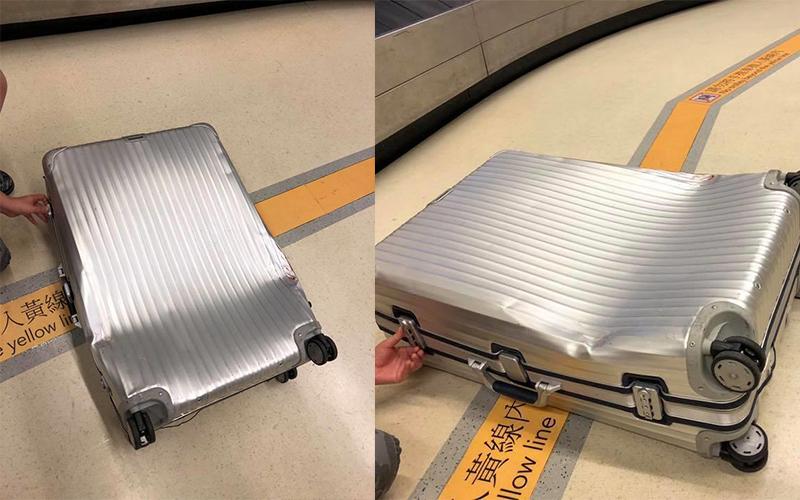 下飛機領行李時驚見自己的名牌行李箱「完全變形」!航空公司竟回:難免的狀況,無法賠償