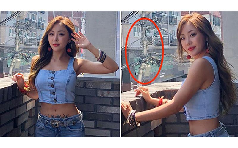 女星PO辣照一旁「電線桿嚴重彎曲」被質疑修圖,網友急幫貼現場照:本來就彎的啦!