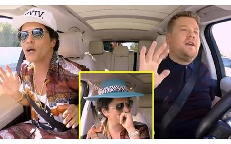 Bruno Mars挑戰車上卡拉OK,興奮的向「路人高唱」網友讚翻:超親民!