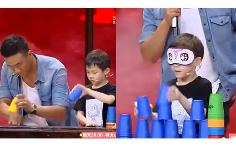 台灣7歲男童競技疊杯勇奪世界冠軍,矇眼疊杯創下神紀錄 網友讚:台灣之光!