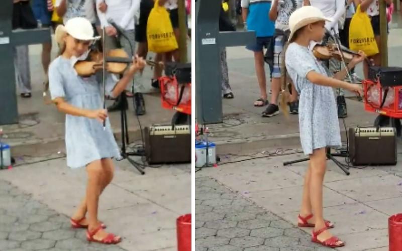 女孩在路邊用小提琴演奏《Despacito》別有一番風味!輕快旋律連路人都忍不住「投錢支持」她