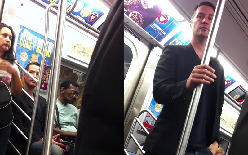 基努李維搭地鐵突然「往旁瞄一眼」....下個舉動證明他是真紳士!