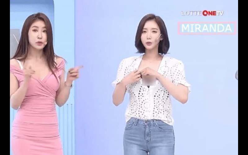 看電視購物看得好開心!韓國購物主持人介紹貼身衣物還不忘往前給福利!