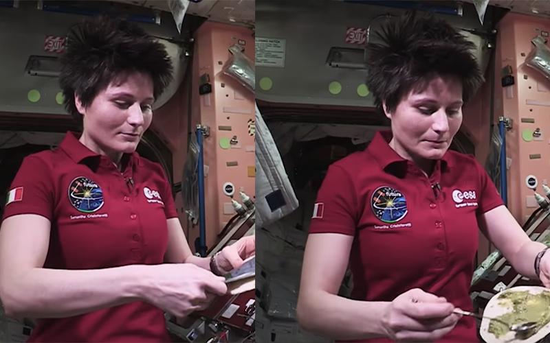 外太空拍攝「烹飪節目」 太空人示範如何跟飛在半空中的食物搏鬥