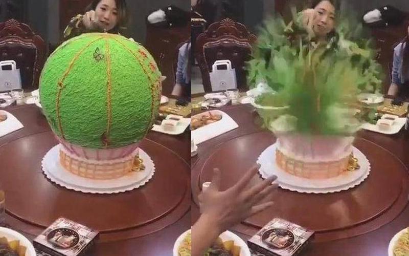 女子生日收到一顆綠色圓形蛋糕,迫不及待切開它後....下一秒朋友臉都綠了:這啥鬼!