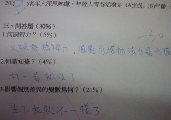 考試太緊張,學生作答全憑直覺…..疑!?  這答案好像對耶!!-0
